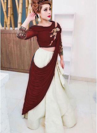 Iconic Maroon Color Heavy Look Designer Lehenga Choli