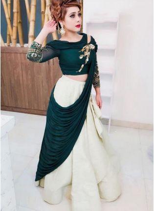 Affordable Dark Green Color Heavy Look Designer Lehenga Choli