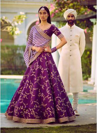Buy Purple Color Embroidery Sequence Work Designer Lehenga Choli