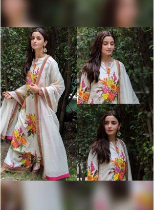 Splendid Digital Printed White Color Palazzo Salwar Suit