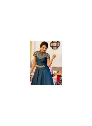 Trendy  Gorgeous Navy Blue Color Taffeta Silk Base Gown