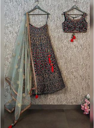 Stylish Black Color Taffeta Silk Embroiderer Designer Lehenga Choli