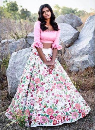 Splendid Designer White Color Taffeta Base Floral Printed Lehenga Choli