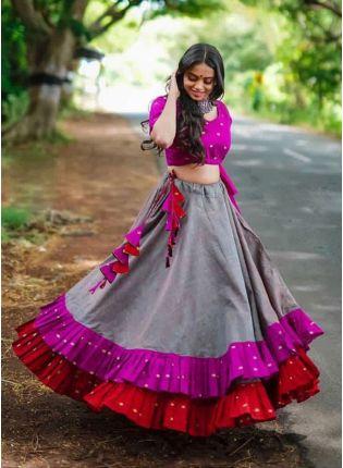 Best Grey And Pink Color Designer Ruffle Lehenga Choli