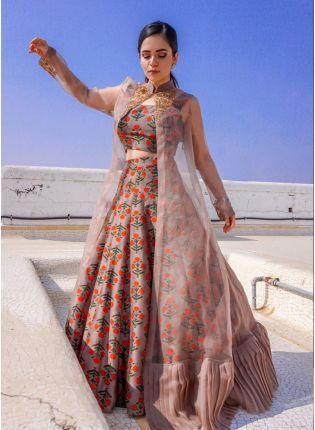 Splendid Light Brown Floral Printed Designer Indowestern