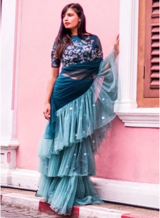 Affordable Latest Designer Rama Green And Blue Color Ruffle Style Saree
