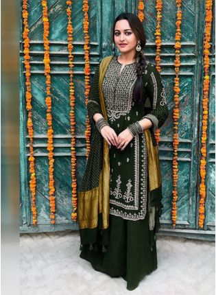 Trendy Dark Green Color Party Wear Georgette Base Palazzo Suit