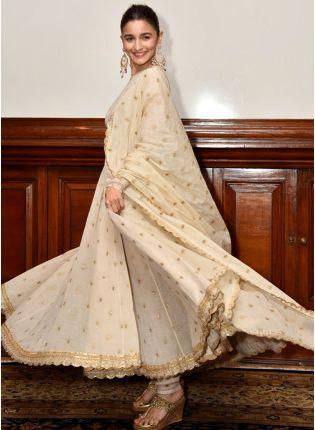 Purchase Beige Color Wedding Wear Designer Anarkali Suit