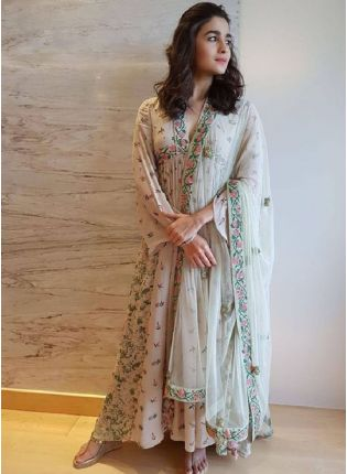 Bollywood Style Grayish Pink Color Georgette Base Digital Print Designer Gown With Grey Color Bottom