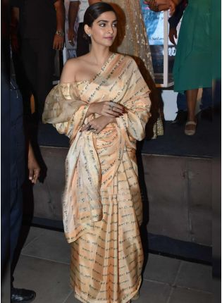 Iconic Party Wear Cream Color Satin Base Designer Heavy Digital Printed Saree