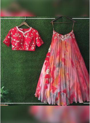 Iconic Multi Color Shibori Printed Crepe Silk Base Party Wear Lehenga Choli