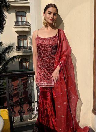 Decent Dark Maroon Color Velvet Base Embroidery Work Sharara Suit