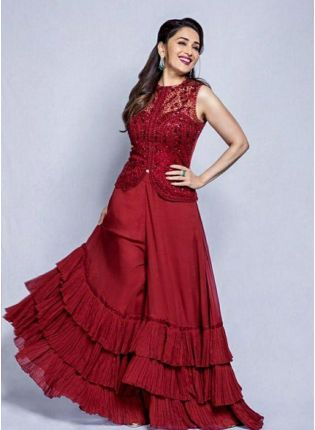 Purchase Maroon Color Party Wear Georgette Base Designer Palazzo Suit