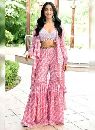 Trendy Pink Color American Crepe Silk Base Sharara Suit