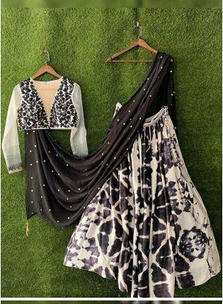 Purchase Black And White Color Party Wear Designer Shibori Printed Lehenga Choli