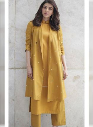 Trendy Mustard Yellow Color Party Wear Cotton Silk Base Pant Style Suit