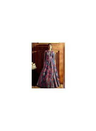 Shop Impression Blue Silk Base Digital Printed Reception Wear Designer Gown