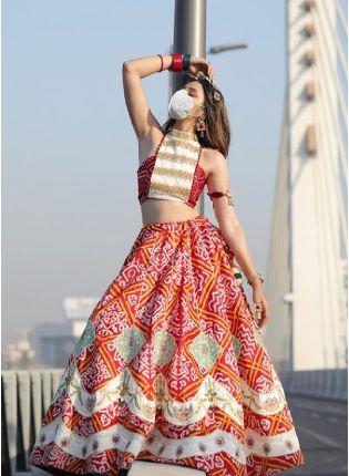 Buy Gorgeous Look Red Color Silk Base Bandhni Design Flared Lehenga Choli