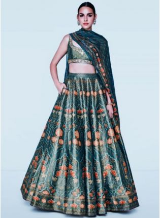 Shop Tempting Rama Green Satin Base Digital Printed Lehenga Choli
