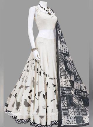 Shop Wonderful White And Black Silk Base Digital Printed Lehenga Choli