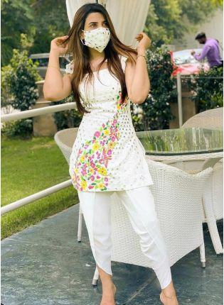 girl in Dazzling White Cotton Silk with Resham Work Salwar Suit