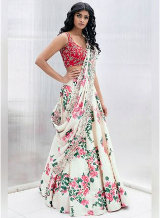 Shop Impressive White Georgette Base Designer Lehenga Choli