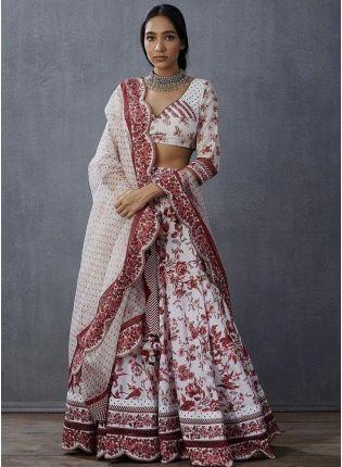 girl in White Digital Print Silk Flared Lehenga Choli
