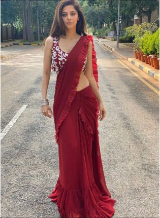 girl in Ruby Red Festive Bollywood Saree
