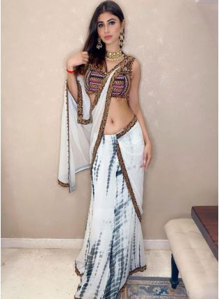 girl in White Georgette Printed Saree
