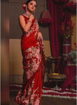 Classy Red Color Crepe Silk Base Digital Print Party Wear Saree