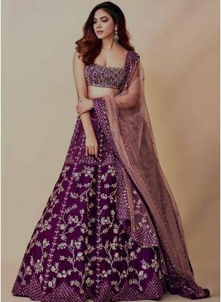 Eye-catching Purple Color Resham Work Lehenga Choli
