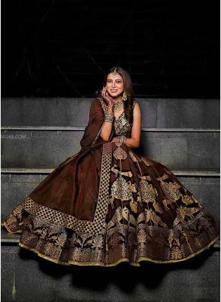 Beautiful Look Chocolate Brown Color Digital Print Flared Lehenga Choli