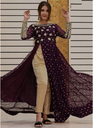 Royal Look Purple Color Pakistani Suit With Off-white Bottom