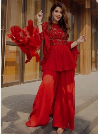Royal Look Red Color Georgette Base Palazzo Suit