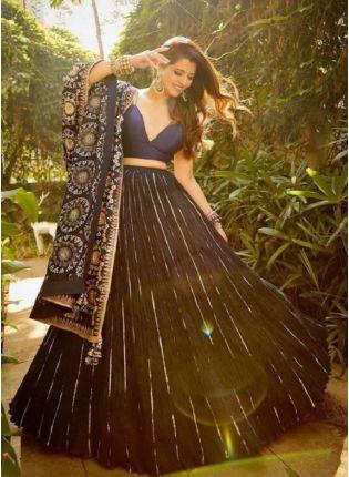 Eye-captivating Navy Blue Color Heavy Embroidery Bollywood Lehenga Choli