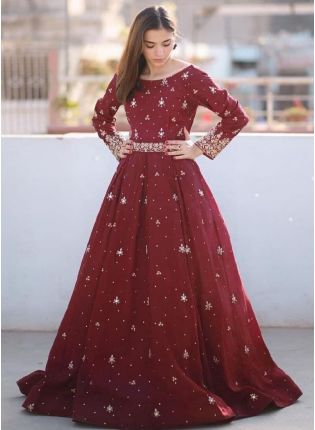 Marvelous Maroon Color Crepe Base Heavy Embroidered Gown