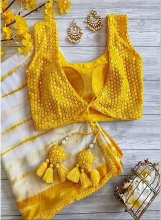 Georgette Fabric Yellow Color Embroidered Printed Mirror Work Saree