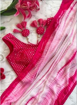 Georgette Base Deep Pink Color Embroidered Printed Saree With Mirror Work