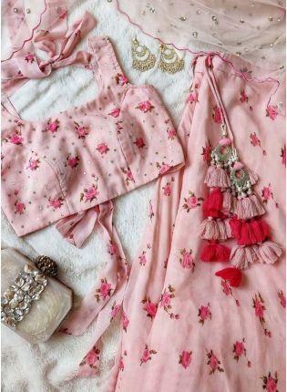 Baby Pink Color Georgette Fabric Printed Crop Top Lehenga Choli