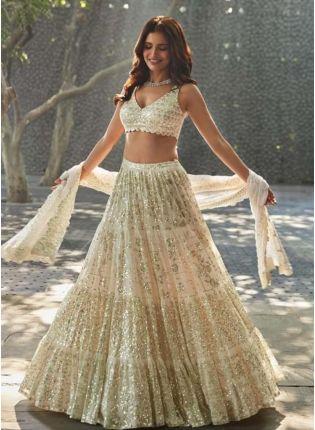 Off-White Color Georgette Fabric Sequined Work Flared Lehenga Choli
