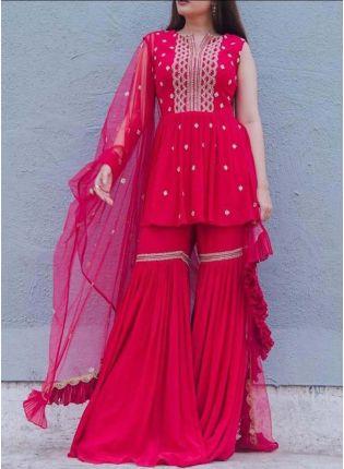 Hot Pink Color Georgette Base Sequins And Resham Work Sharara Salwar Suit