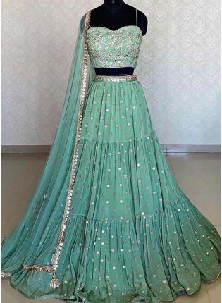 Green Color Silk Fabric Heavy Sequins Work Flared Lehenga Choli