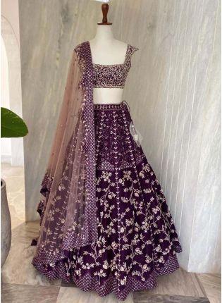 Stunning Purple Color Taffeta Silk fabric Heavy Work Lehenga Choli