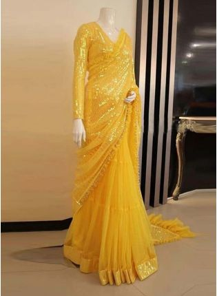 Full Sleeves Blouse Yellow Color Soft Net Base Heavy Sequins Work Saree