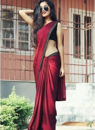 Dramatic Maroon Color Satin Base Party Wear Saree With Black Color Blouse