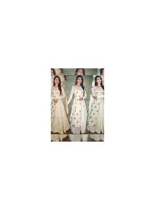 Iconic White Color Party Wear Designer Taffeta Silk Base Gown