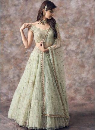 Iconic Olive Green Color Party Wear Net Base Designer Lehenga Choli