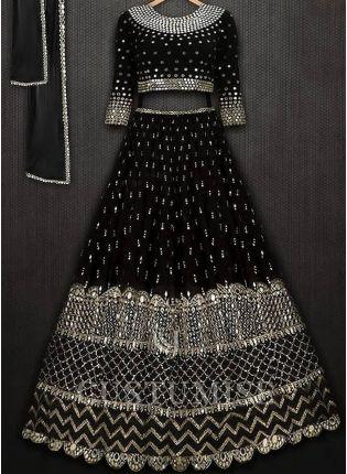 Stylish Black Color Designer Party Wear Georgette Base Lehenga Choli