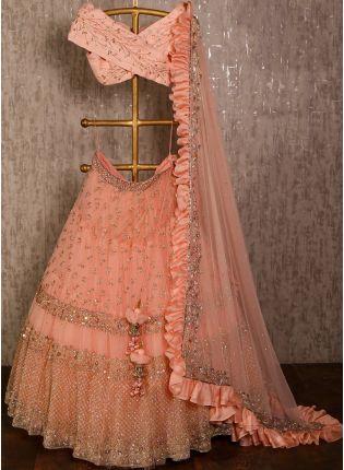 Purchase Peach color soft net base party wear Designer Lehenga Choli