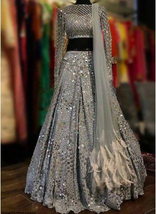 Affordable Grey Color Party Wear Silk Base Designer Lehenga Choli
